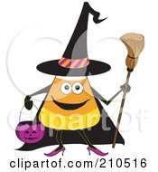 Royalty Free RF Clipart Illustration Of A Halloween Candy Corn In A Witch Costume by erikalchan
