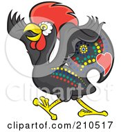 Royalty Free RF Clipart Illustration Of A Colorful Portugese Rooster Walking by Paulo Resende