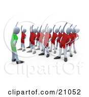 Clipart Illustration Of A Teacher Showing People How To Stretch In An Aerobics Fitness Class