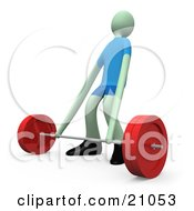 Clipart Illustration Of A Man Stretching His Arms A Little While Trying To Lift A Barbell Weight