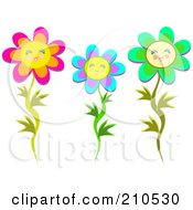 Royalty Free RF Clipart Illustration Of A Digital Collage Of Three Happy Flowers