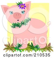 Royalty Free RF Clipart Illustration Of A Tropical Pig Wearing Leaves And A Flower by bpearth
