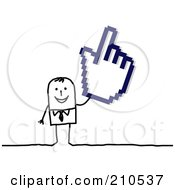 Royalty Free RF Clipart Illustration Of A Stick Person Businses Man Holding A Hand Cursor by NL shop