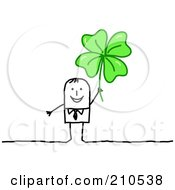 Royalty Free RF Clipart Illustration Of A Happy Stick Person Business Man Holding Up A Clover