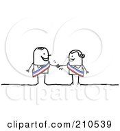 Poster, Art Print Of Stick Person Business Man Shaking Hands With A Female Colleague