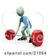 Clipart Illustration Of A Green Man Crouching To Bend Over And Lift A Barbell