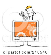 Royalty Free RF Clipart Illustration Of A Stick Person Man Computer Repair Technician