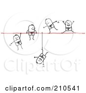 Royalty Free RF Clipart Illustration Of A Group Of Stick Person Business Men Walking Falling And Hanging On A Wire