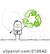 Royalty Free RF Clipart Illustration Of A Stick Person Business Man Holding Up Recycle Arrows by NL shop