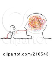Royalty Free RF Clipart Illustration Of A Stick Person Man Doctor Pulling Strings From A Brain by NL shop #COLLC210543-0109