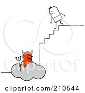 Royalty Free RF Clipart Illustration Of A Stick Person Man Climbing The Steps To Hell by NL shop