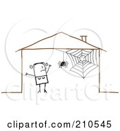 Scared Stick Person Woman By A Spider In Her House by NL shop