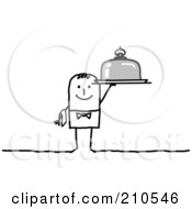 Royalty Free RF Clipart Illustration Of A Stick Person Man Waiter Holding A Platter by NL shop