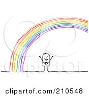 Stick Person Man Standing Under A Rainbow