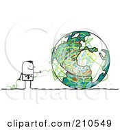 Royalty Free RF Clipart Illustration Of A Stick Person Business Man With Strings And A Globe by NL shop