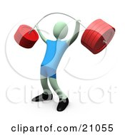 Clipart Illustration Of A Strong Green Man Lifting A Heavy Barbell In The Gym