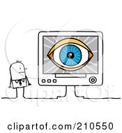 Royalty Free RF Clipart Illustration Of A Stick Person Business Man Looking At An Eye On A Computer Screen