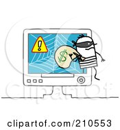 Royalty Free RF Clipart Illustration Of A Stick Person Man Robber Stealing Money From An Online Scam