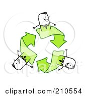 Royalty Free RF Clipart Illustration Of Stick Person Business Men On Green Recycle Arrows