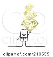 Royalty Free RF Clipart Illustration Of A Stick Person Man Holding A Pile Of Diamonds
