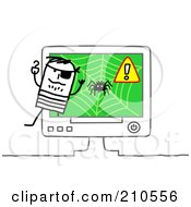 Royalty Free RF Clipart Illustration Of A Stick Person Man Pirate Emerging From A Computer by NL shop