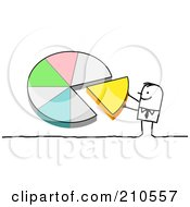 Royalty Free RF Clipart Illustration Of A Stick Person Man Pushing A Piece Of A Pie Chart Into Place by NL shop