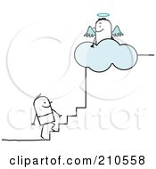 Royalty Free RF Clipart Illustration Of A Stick Person Man Climbing The Steps To Heaven by NL shop