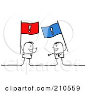 Stick Person Men Arguing With Flags
