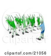 Aerobics Class Instructor Stretching With People In A Fitness Class