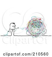 Royalty Free RF Clipart Illustration Of A Stick Person Business Man With A Ball Of Strings by NL shop