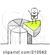 Royalty Free RF Clipart Illustration Of A Stick Person Man Standing On A Piece Of A Pie Chart by NL shop