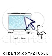 Royalty Free RF Clipart Illustration Of A Stick Person Business Man Holding A Cursor To A Computer by NL shop