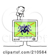 Stick Person Business Man On A Computer With A Spider Virus