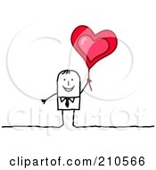 Happy Stick Person Business Man Holding Up A Heart Balloon
