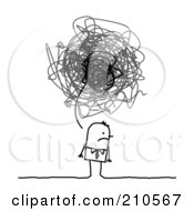 Royalty Free RF Clipart Illustration Of A Stick Person Business Man With A Gloomy Scribble Thought Balloon by NL shop