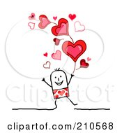 Royalty Free RF Clipart Illustration Of A Stick Person Man Under Valentines Day Hearts by NL shop