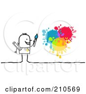 Royalty Free RF Clipart Illustration Of A Stick Person Man Painting Splatters by NL shop