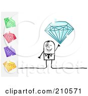 Royalty Free RF Clipart Illustration Of A Stick Person Business Man Holding Up A Blue Diamond With Other Gems On The Side by NL shop