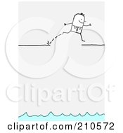 Stick Person Business Man Leaping Over A Broken Ledge Above Water