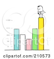 Royalty Free RF Clipart Illustration Of A Stick Person Business Man Standing On A Varying Bar Graph by NL shop