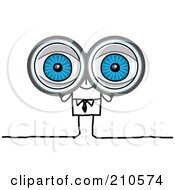 Royalty Free RF Clipart Illustration Of A Stick Person Business Man Looking Through Binoculars
