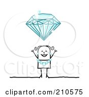 Royalty Free RF Clipart Illustration Of A Stick Person Woman Wearing A Diamond Necklace And Earrings Under A Huge Diamond