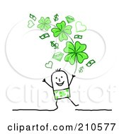 Stick Person Man Under Money, Hearts And Shamrocks