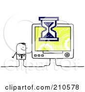 Royalty Free RF Clipart Illustration Of A Stick Person Business Man Waiting On A Slow Computer
