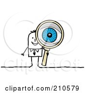 Royalty Free RF Clipart Illustration Of A Stick Person Business Man Peering Through A Magnifying Glass