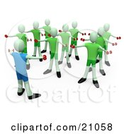 Aerobics Class Of Green People Working Out With Weights