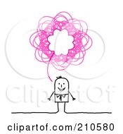 Royalty Free RF Clipart Illustration Of A Stick Person Business Man With A Pink Scribble Thought Balloon