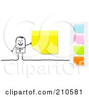 Royalty Free RF Clipart Illustration Of A Stick Person Business Man With A Yellow Sticky Note Other Colors On The Side by NL shop