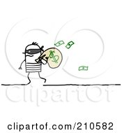 Royalty Free RF Clipart Illustration Of A Stick Person Man Robber Carrying A Bag Of Money