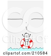 Royalty Free RF Clipart Illustration Of A Stick Person Man With A Life Buoy Under A Broken Ledge